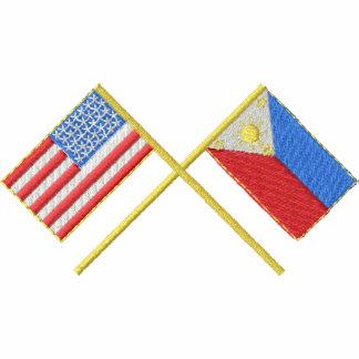 EUA e Filipinas Camiseta Bordada Polo