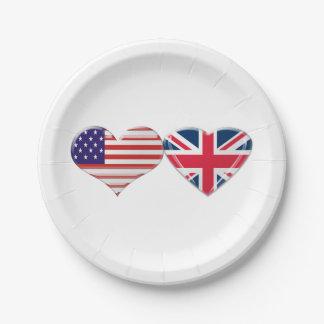EUA e placas de papel das bandeiras BRITÂNICAS dos