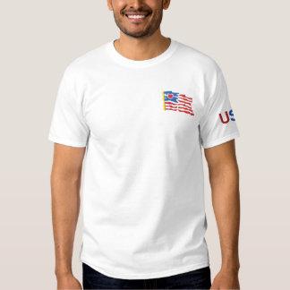 EUA e t-shirt bordado bandeira