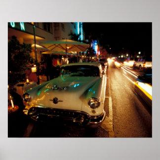 EUA, FL, Miami, praia sul na noite. 2 Poster