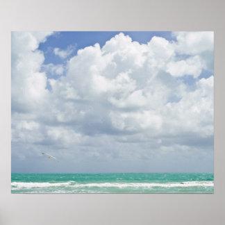 EUA, Florida, Miami, paisagem com mar Poster