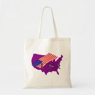 EUA lilás+ Estrelas+Tira Bolsas De Lona