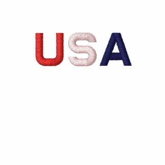 EUA LS básico branco clássico bordado RWB T