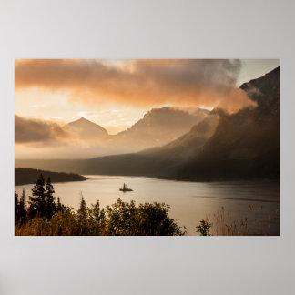 EUA, Montana, parque nacional de geleira. Nascer Poster