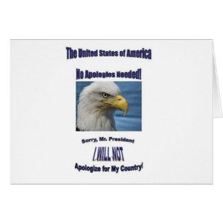 EUA nenhumas desculpas Cartão Comemorativo