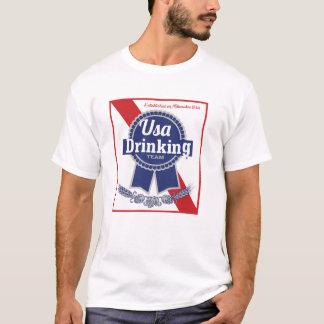 EUA que bebem a fita azul PBR da equipe Camiseta