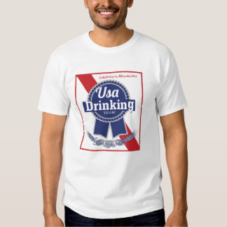 EUA que bebem a fita azul PBR da equipe Tshirt