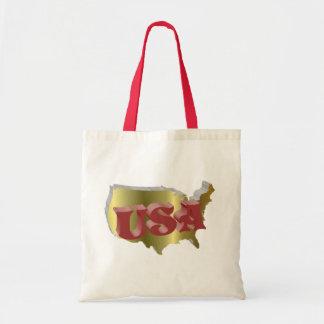 EUA vermelha ouro de 3D Bolsas Para Compras