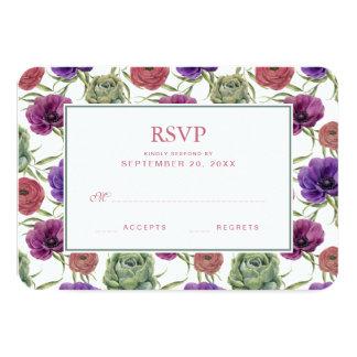 Eucalipto da aguarela | & anêmona - RSVP Wedding Convite 8.89 X 12.7cm