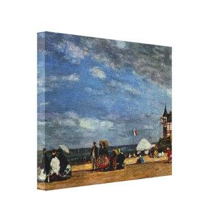 Eugene Boudin- a praia em Trouville Impressão De Canvas Esticada