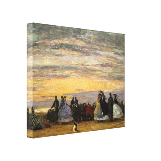 Eugene Boudin- a praia em Villerville Impressão De Canvas Envolvidas