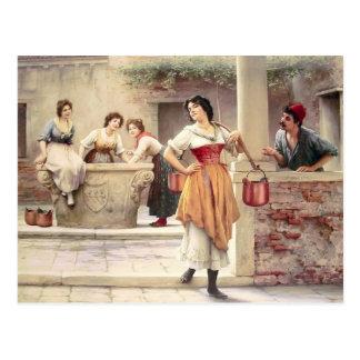 Eugene de Blaas- Namorico no poço Cartao Postal