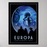 Europa da visita - lua gelada de Jupiter Pôster