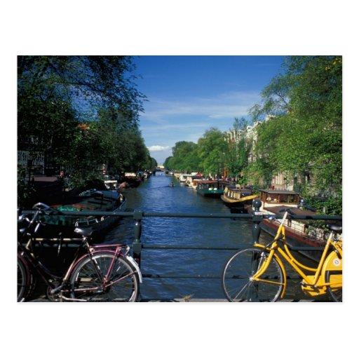 Europa, Holland, Amsterdão, bicicleta amarela e Cartao Postal