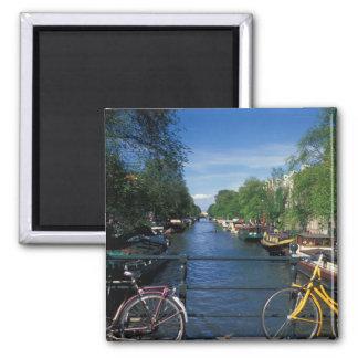 Europa, Holland, Amsterdão, bicicleta amarela e Ímã Quadrado