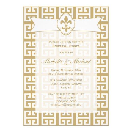 Evento chave grego do casamento da flor de lis bra convite personalizados