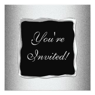 Evento formal especial 2 do quadro de prata do convite quadrado 13.35 x 13.35cm