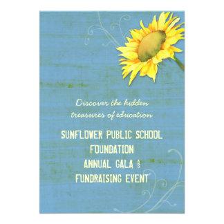 Eventos Fundraising temáticos do girassol azul rús Convite Personalizados