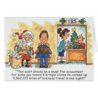 Exame do papai noel do cartão de Natal do contador