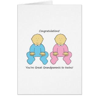 Excelente - avós aos gêmeos, felicitações cartão comemorativo