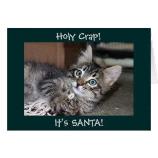 Excremento santamente é cartão de Natal do gatinho