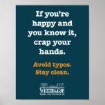 Excremento suas mãos impressão