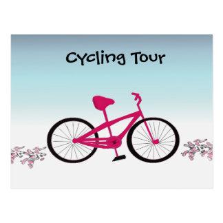 Excursão cor-de-rosa do ciclismo da bicicleta cartão postal