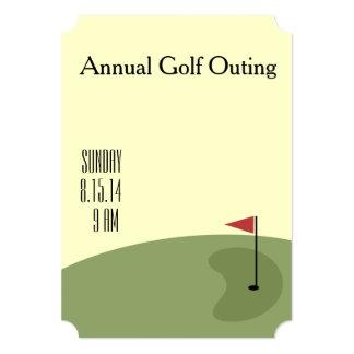 Excursão do golfe - no verde convite 12.7 x 17.78cm