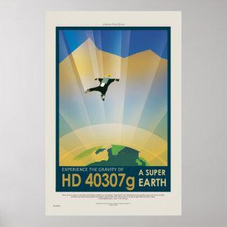 Excursão super da terra - poster de viagens retro