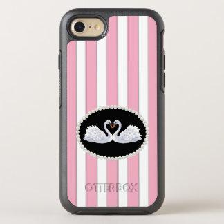 Exemplo cor-de-rosa elegante das cisnes da pérola capa para iPhone 7 OtterBox symmetry