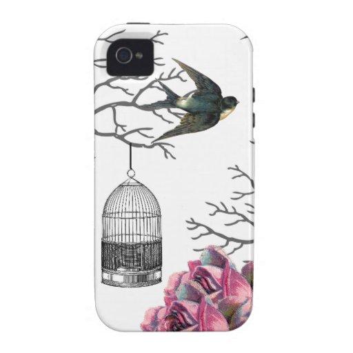 Exemplo da andorinha dos rosas do Birdcage do vint Capinhas Para iPhone 4/4S