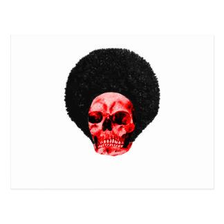 Exemplo vermelho preto do crânio do Afro o GIF de Cartões Postais