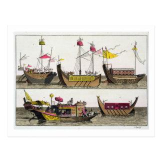 Exemplos dos navios chineses, ilustração 'de Le C Cartão Postal