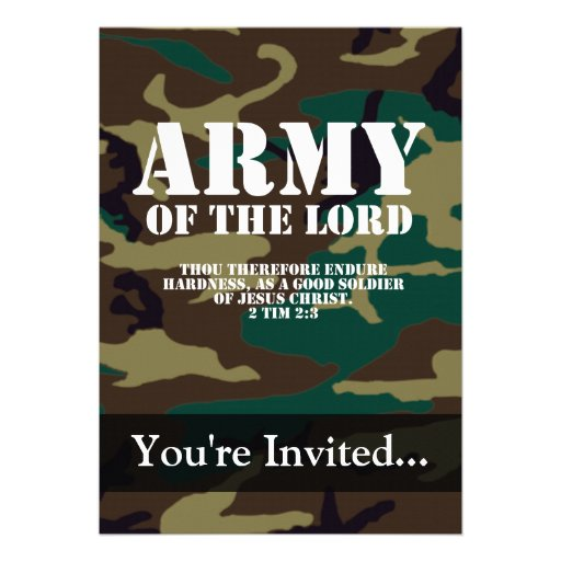 Exército do senhor, escritura Camo da bíblia Convites Personalizados