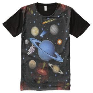Exoplanet e sistema solar camisetas com impressão frontal completa