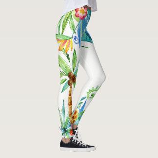 Exótico floral tropical legging