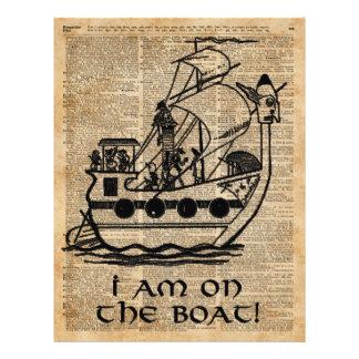 Expedição do barco, arte do dicionário da tinta do flyer 21.59 x 27.94cm
