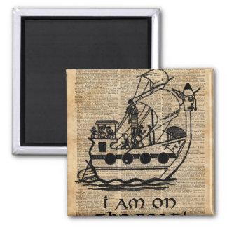 Expedição do barco, arte do dicionário da tinta do ímã quadrado