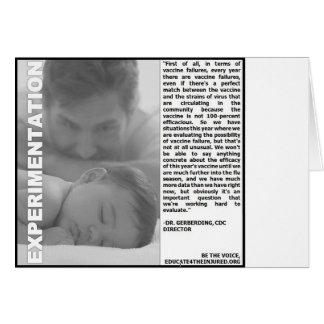 experimentação da vacina contra a gripe, apenas um cartão de nota