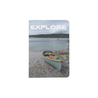 """""""Explore"""" o suporte do passaporte com barco de Capa Para Passaporte"""