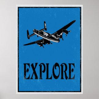 Explore: Poster retro da arte do avião Pôster