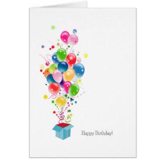 Explosão colorida dos balões dos cartões de