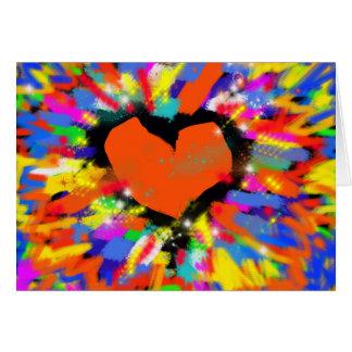 explosão do amor, corações cartão comemorativo