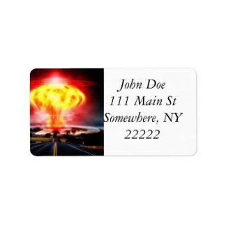 Explosão nuclear etiqueta de endereço