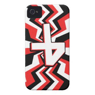 Explosão vermelha, preta, & branca do ziguezague capa para iPhone 4 Case-Mate