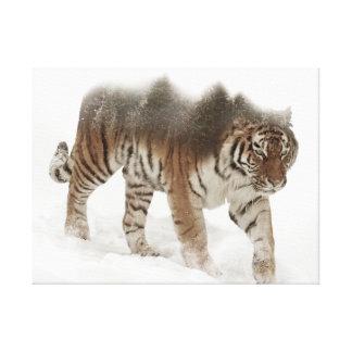 Exposição-animais selvagens tigre-Tigre-dobro Impressão Em Tela