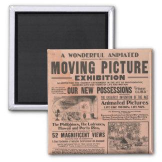 Exposição da imagem movente do vintage imã de geladeira