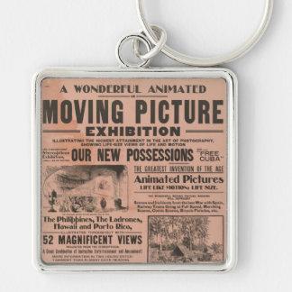 Exposição da imagem movente do vintage chaveiros