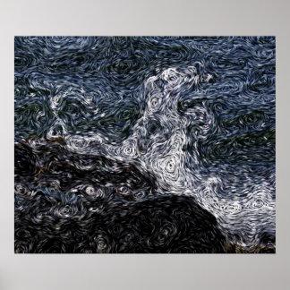 Expressionism de Digitas: Rocha no mar tormentoso Pôster