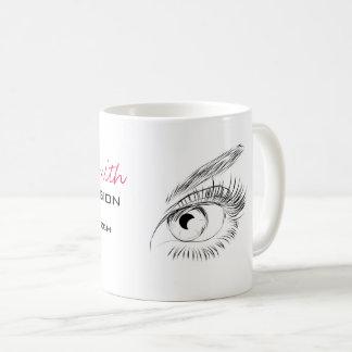 Extensão longa do chicote dos chicotes dos olhos caneca de café